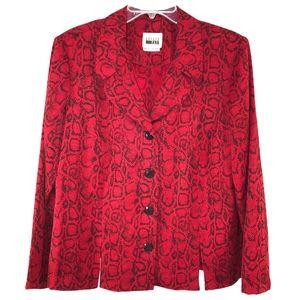 Trendy Red Black Snake Print Blazer, Size 16